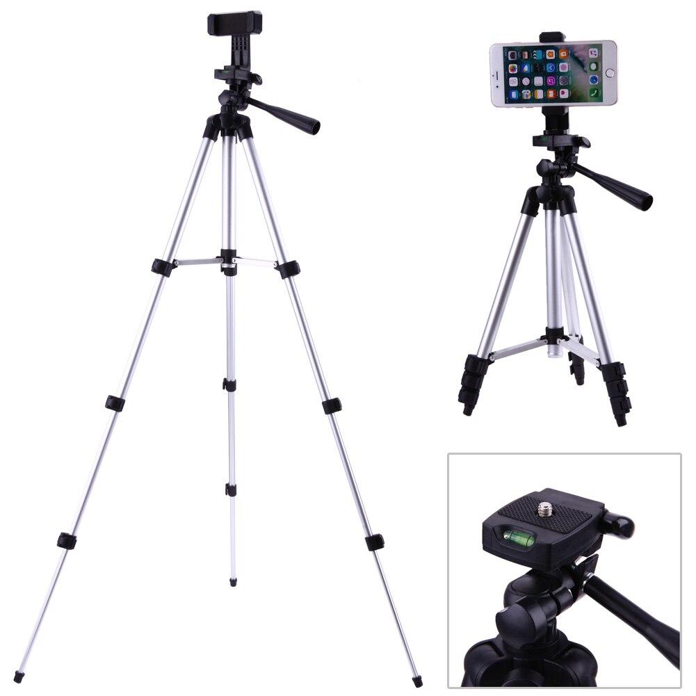 "Professional Foldable Camera Tripod Holder Stand 1/4"" Screw 360 Degree Fluid Head Tripod Stabilizer Aluminum with Phone Holder"