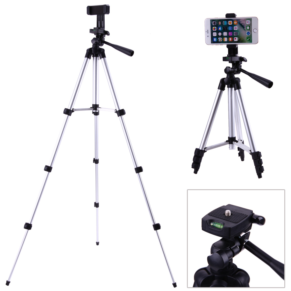 Professionnel Pliable Caméra Titulaire Trépied 1/4 Vis 360 Degrés Fluide Tête Trépied Stabilisateur En Aluminium avec Support de Téléphone