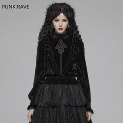 Женская рубашка в стиле панк, готическая Черная рубашка с воротником-стойкой, великолепная бархатная винтажная приталенная эластичная жен...