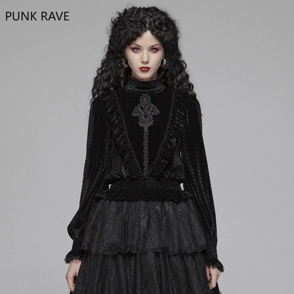 Punk Rave femmes chemise gothique noir col montant magnifique grain foncé velours victorien Vintage Slim Fit élastique femmes Blouses