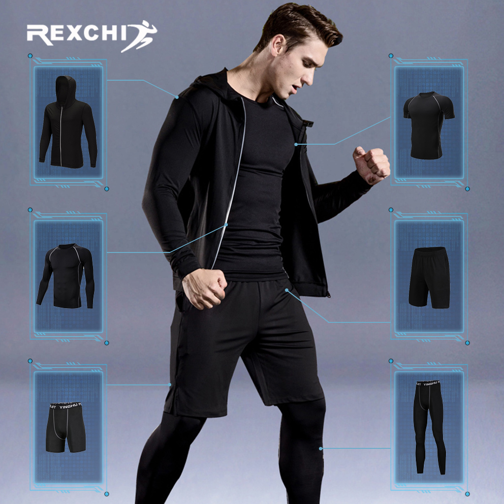 WorthWhile 6 Pcs/Set Sports Tracksuit Men Compression Suit Gym Fitness Clothes Running Set Jogging Training Workout Sport Wear
