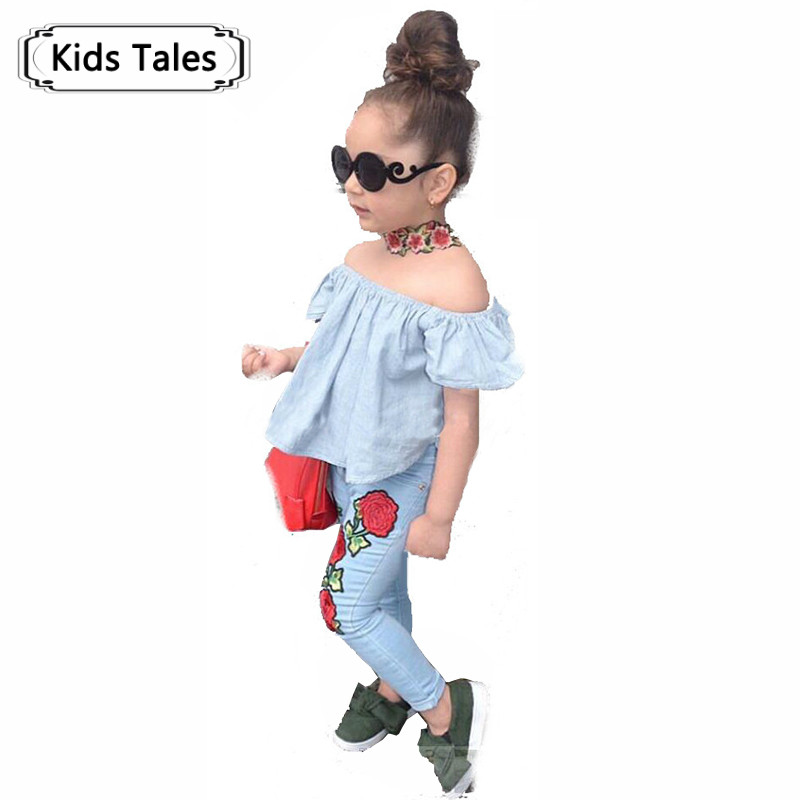 2018 Children's Shirt Clothing for Girls Set of Children Stars Shirt+Jeans for Girls Suit 2 Pcs. Fashion Baby Clothes Set ST332 2 pcs children fashion flower wreath headdress beautiful bracelets suit dress deserve to act the role of 2018
