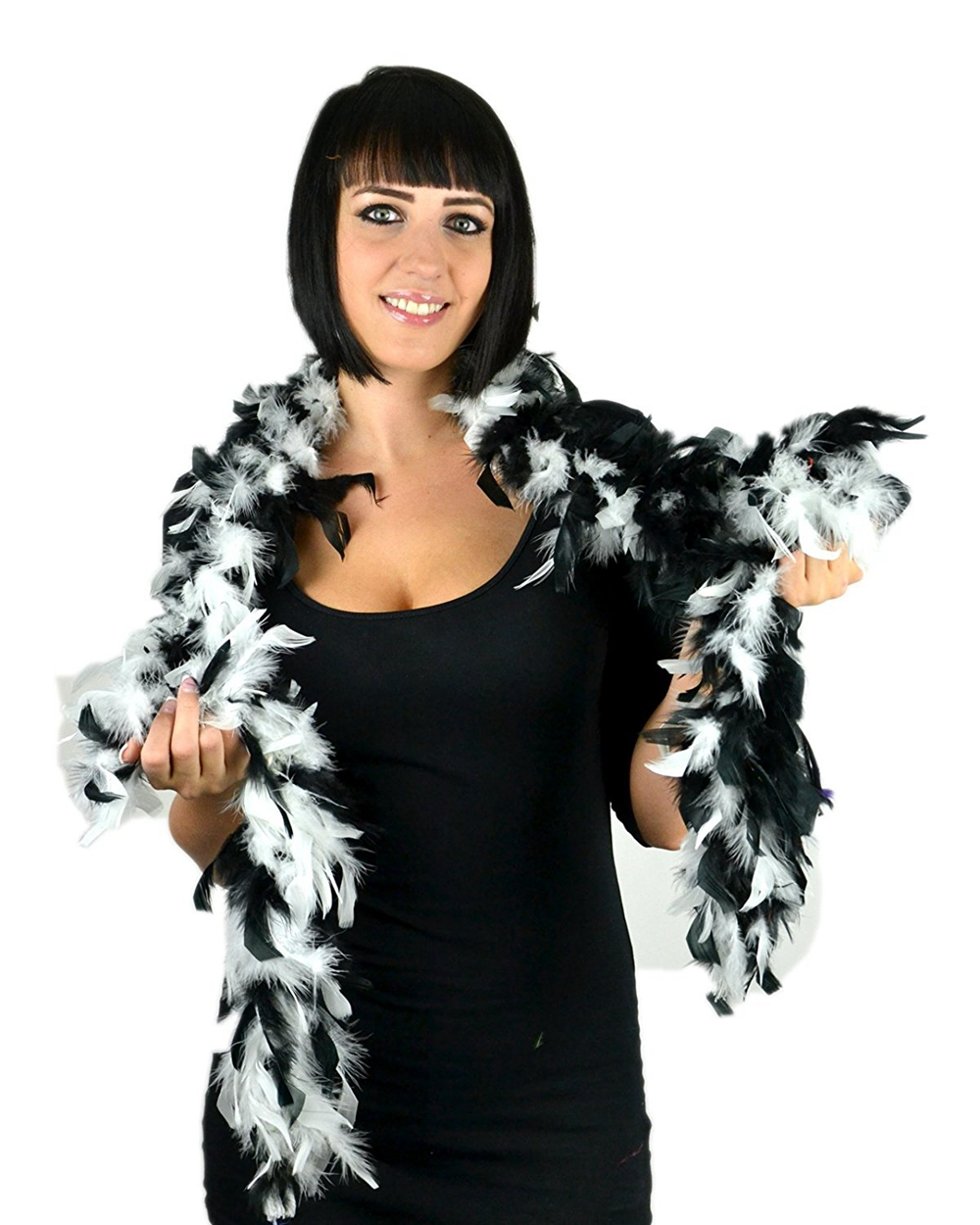 Free shipping wholesale 6pcs high quality Turkey feathers 2yard long per pc Feather boa Decorative white with black 40gram/pc