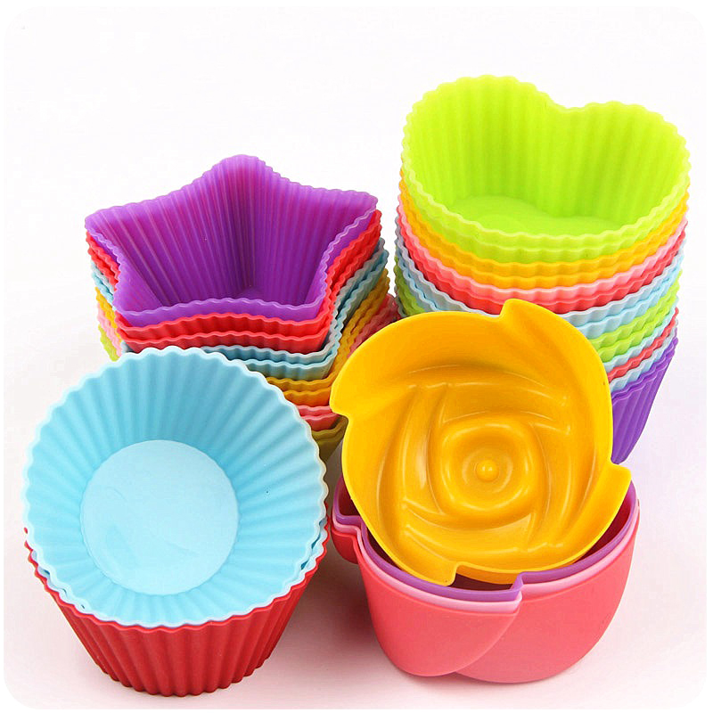 5PCS/lot 7*3cm Silicone Cake Cup Circle Heart Star Flower Shapes Jelly Pudding mold Unique style Tool Kitchen Accessory