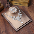 Classic Crystal Bridal Jewelry Sets Silver Plated Choker Necklace Earrings Sets Wedding Jewelry for Women