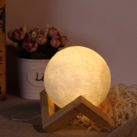 18cm USB Rechargeable 3D Printing Moon Lunar LED Night Light Lamp With Wooden Stand Moon Light Lamp Decorative Lighting