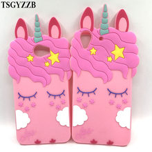 For Huawei Y6 II 2 Y6II Case Pink Horse Unicorn 3D Cute Silicone Cartoon Soft Rubber Phone Cover Y5 Y5II Cases