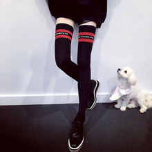 Black Stripes Middle Tube Long Knee Pure Cotton Knitted Sock And Women Stockings High Socks Over The