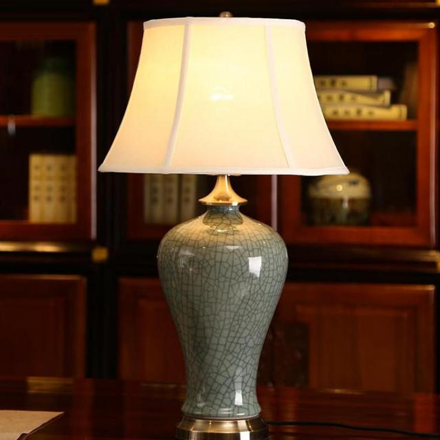 Modern Crackled pattern Ceramic Bedside Lamp Chinese Style Table Lamp For Living Room Bedroom AC80-265V 1117