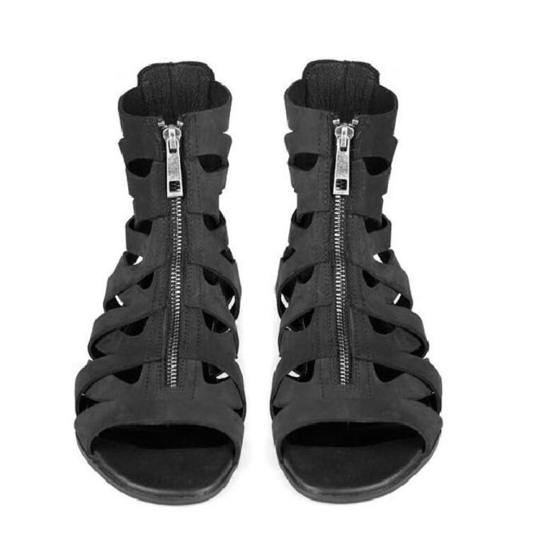 HOT Man Designer Sandals Genuine Leather Cool Beach Shoes Cut Out Flip-Flops Roman Male Black Sandalias High Top Summer Boot стоимость