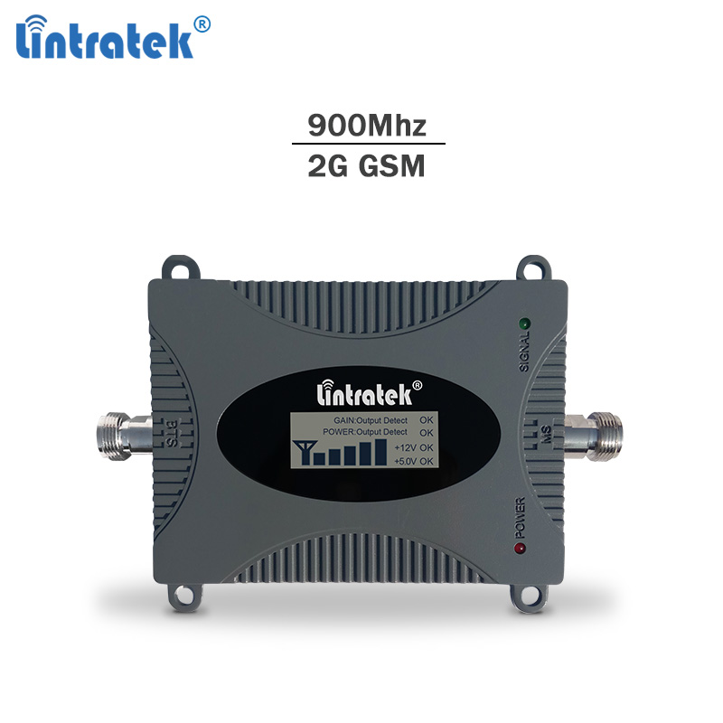 Lintratek GSM Signal Repeater 2G 900Mhz Signal Booster 65dB GSM 900Mhz Cellphone Amplifier Mini Size NO  Antennas LCD Display