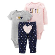 Baby Girl Clothes 2019 Fashion Newborn bebe girls  Long sleeves &Short Bodysuits +Pants 3 Pieces baby clothing set