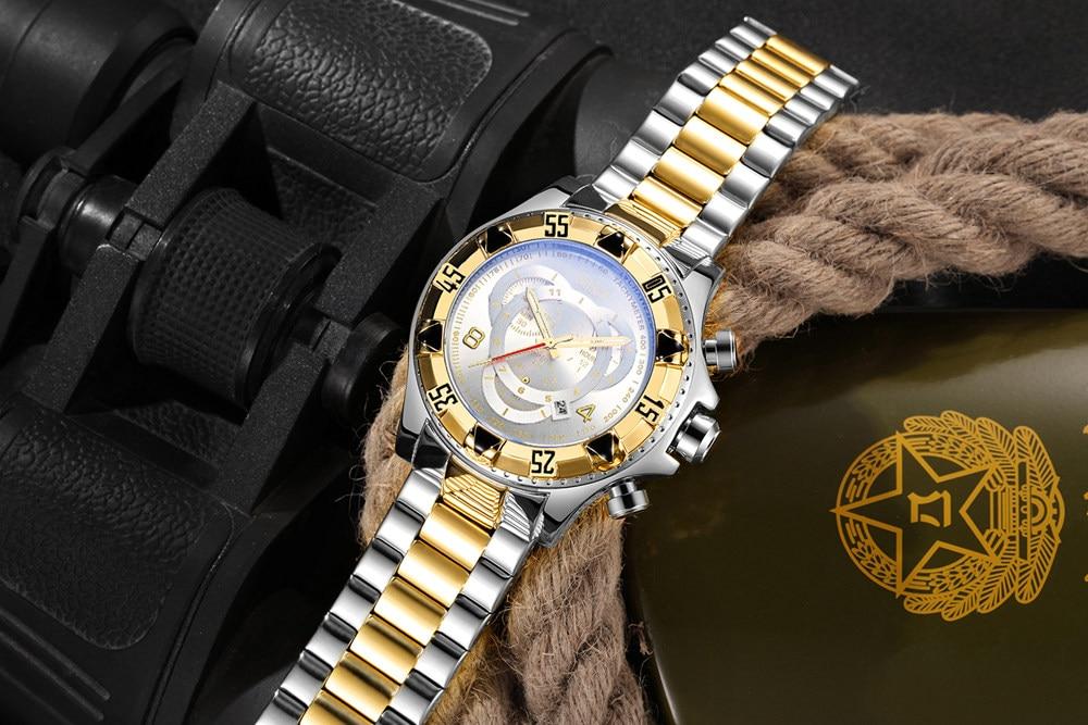 19 Top Brand Luxury Mens Oversize Watch Gold Business Steel Quartz Clock Waterproof Sport Military Chronograph Male Wristwatch 34