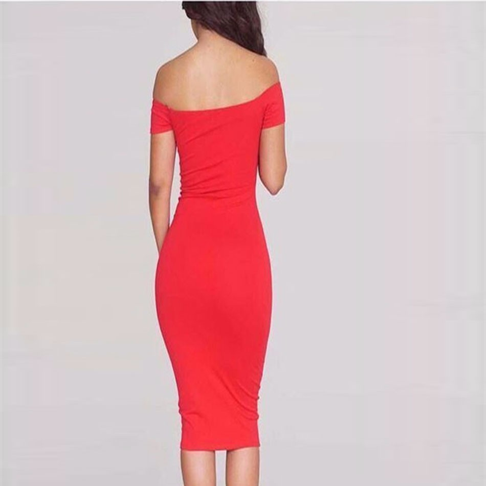 2a4be8ad38e5 2017 Autumn fashion Women Party Bodycon Bandage Dress short sleeve off  shoulder V neck midi red celebrity runway dress wholesale-in Dresses from  Women s ...