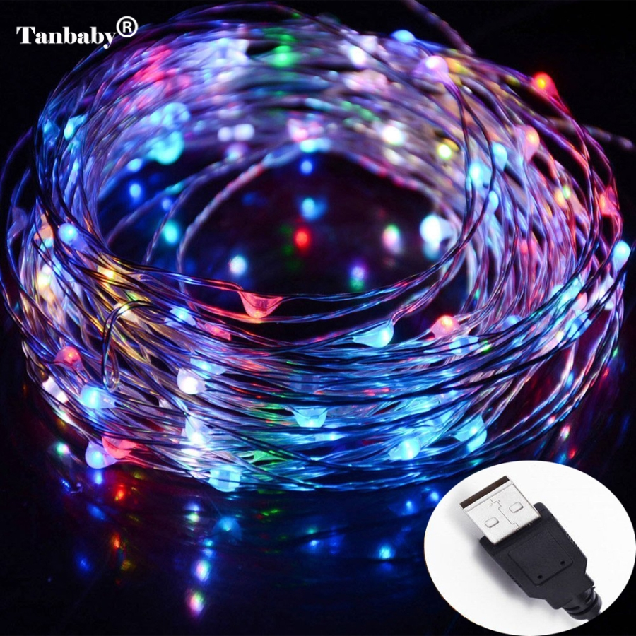 Tanbaby 33ft 10M 100 LED Waterproof LED Copper Wire String Fairy Lights 5V USB Supply Operated For Wedding Christmas Decor