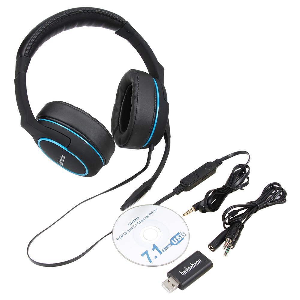 badasheng 7.1 Surround Sound channel USB Gaming Headset Wired Headphone with Mic Earphone Volume Control Noise Cancelling 5-in-1 each g8200 gaming headphone 7 1 surround usb vibration game headset headband earphone with mic led light for fone pc gamer ps4
