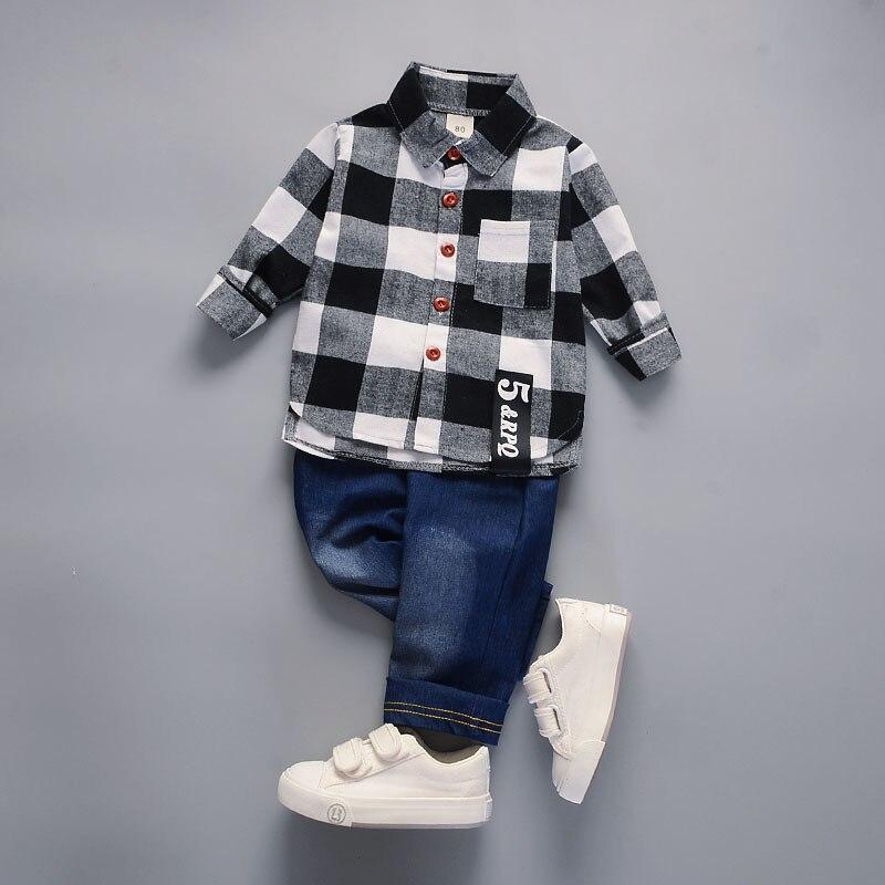 Children clothes Cotton plaid T-Shirt +denim Pants 2 Pcs Sport Suit kids clothes boys Set casual spring toddler outfits Costumes