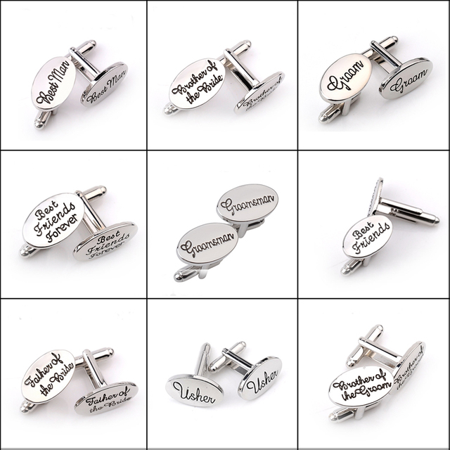 new wedding role letter cufflinks personality name groom men friends forever meet brother