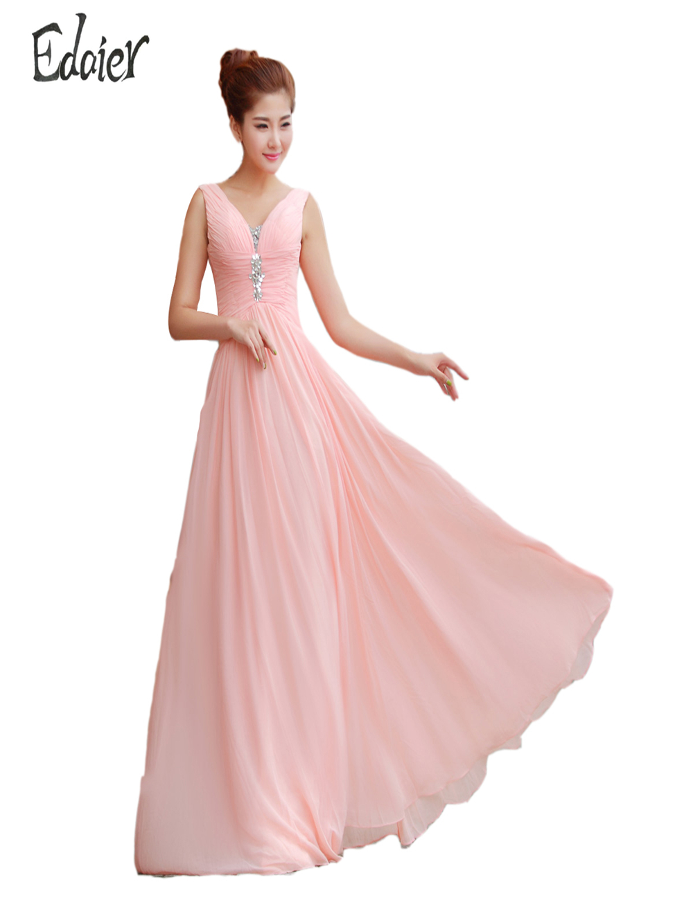 Elegant pink bridesmaid dress long chiffon vestido de for Beach wedding dresses 2017