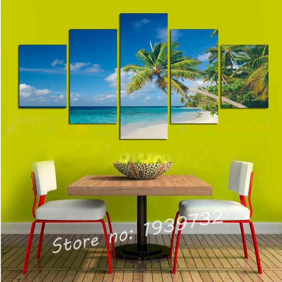 Hot Sale 5 pcs Spectacular sea Sunshine Landscape Wall Art Canvas ...