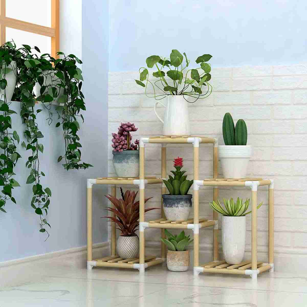 Multi Tier Flower Stands Wooden Plant