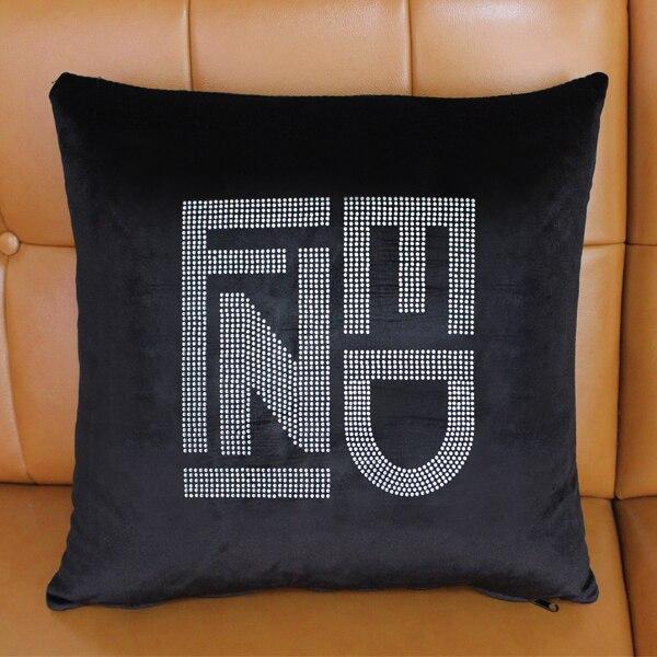 Wholesale Creative art Paris FF letters branded logo luxury Crystal diamond Bling black Velvet throw pillow case cushion covers