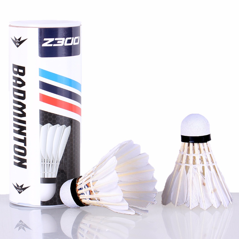 3PCS/Tube Shuttlecocks Badminton White Feather Shuttlecocks Professional Competition and Game Badminton Accessories Z300