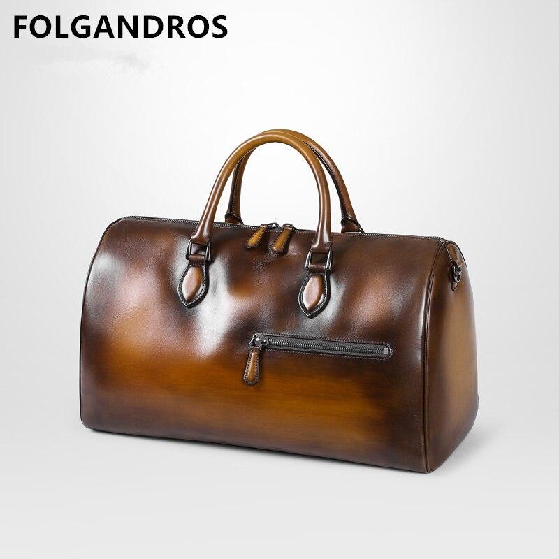 2019 Luxury Genuine Leather Travel Bag Italian Cowhide Business Casual Travel Duffle Large Capacity Design Luggage Crossbody Bag