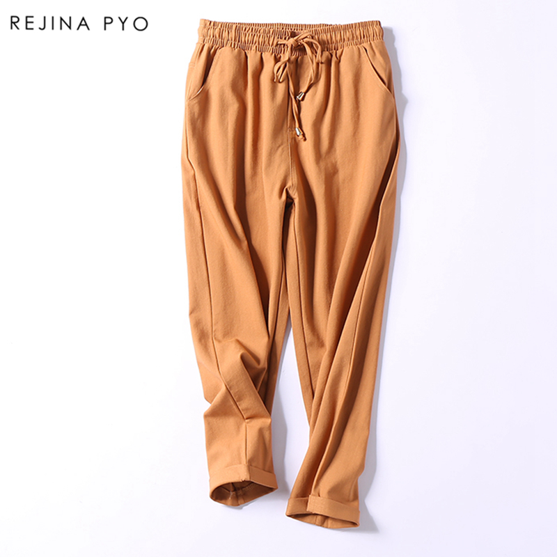 RejinaPyo Women 2018 Spring New Arrival Women Solid Casual Pencil Pant Ankle-Length High Waist Free Shipping