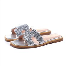 f4014636c1120d crystal studs cut out flat heel slippers woman brand design flip flops  summer fashion designers sandals