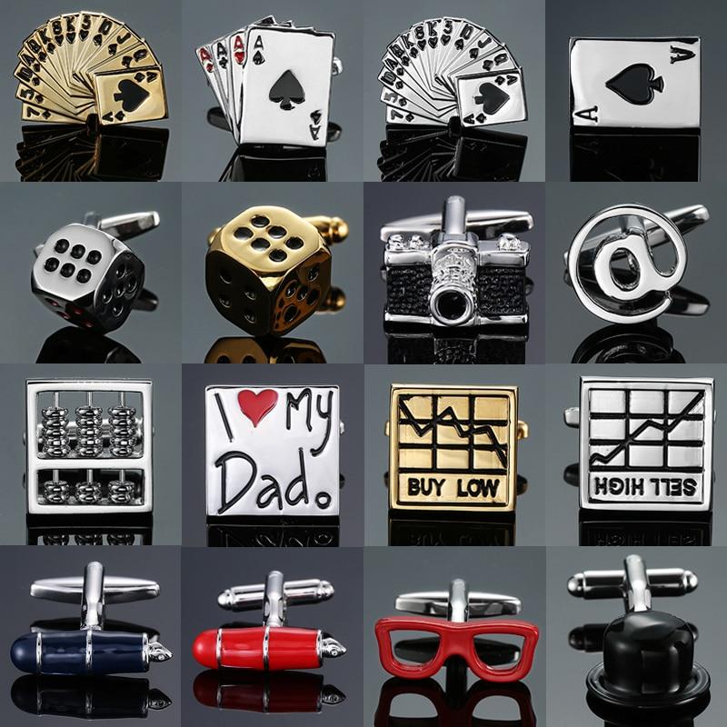 High-end men's French shirt Cufflinks jewelry luxury design poker dice Camera stock pen gold red black blue Cuff links