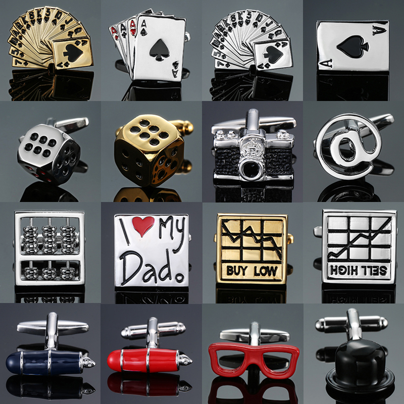 High-end Men's French Shirt Cufflinks Jewelry Luxury Design Poker Dice Camera Stock Pen Gold Red Black Blue Cuff Links