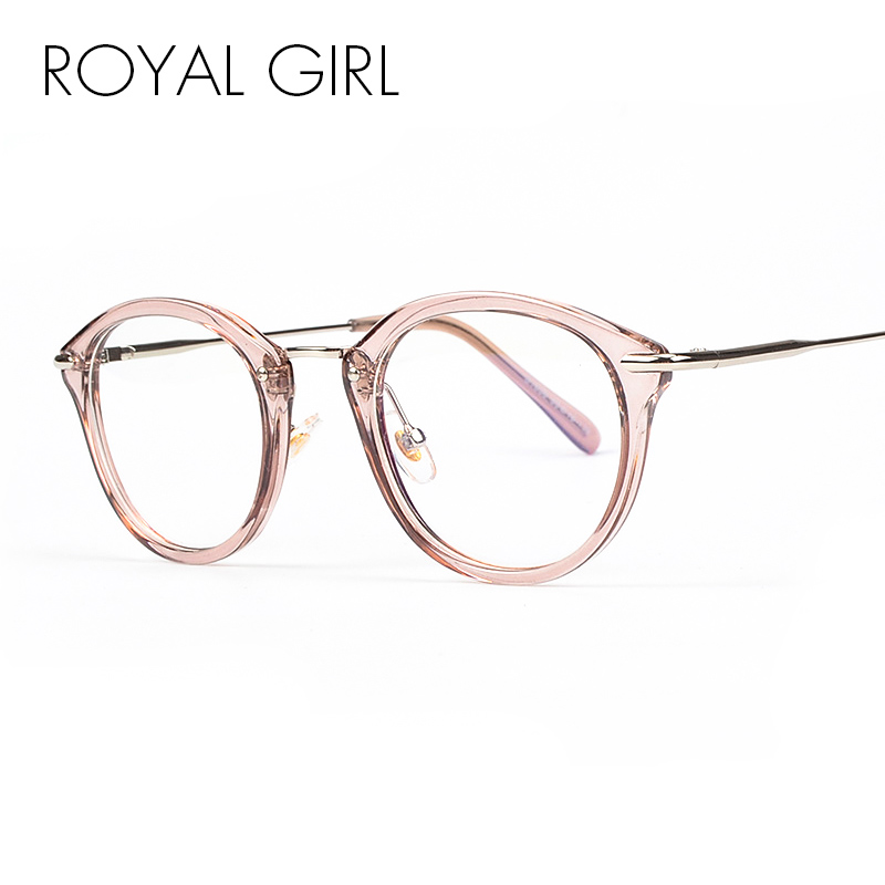 ROYAL GIRL alta calidad TR moda gafas mujeres gafas marco Vintage gafas de lente transparente redonda os012