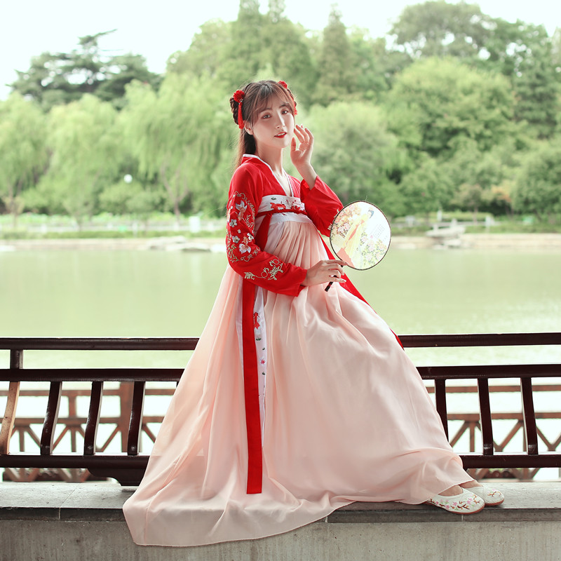 Hanfu Dress Women Costume Tang Dynasty Traditional Ancient Chinese Folk Dance Fairy Skirt Performance Red Clothing DNV11418