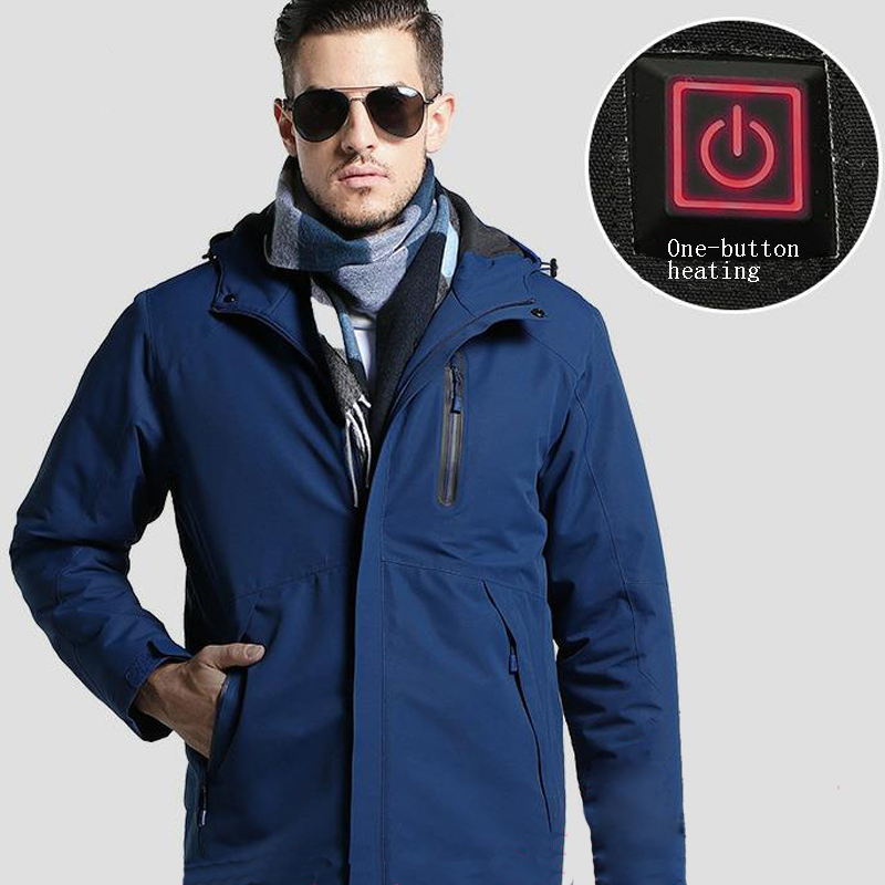 Image 2 - Men's Winter Outdoor Intelligent USB Work Hooded Heating Jacket Coats Adjustable Temperature Control Safety Clothing DSY0012-in Safety Clothing from Security & Protection