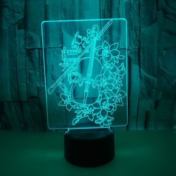 Biola 3D Malam Lampu 7 Warna Kontrol Sentuh USB 3d Hias LED Dekoratif Lampu Meja Pabrik Grosir 7 Warna Perubahan Meja lampu