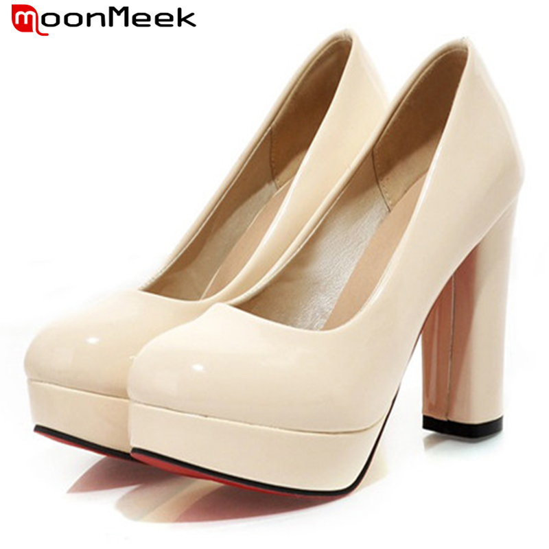 2015 fashion sexy platform patent leather shoes women pumps large size 34-43 round toe square high heels bridal