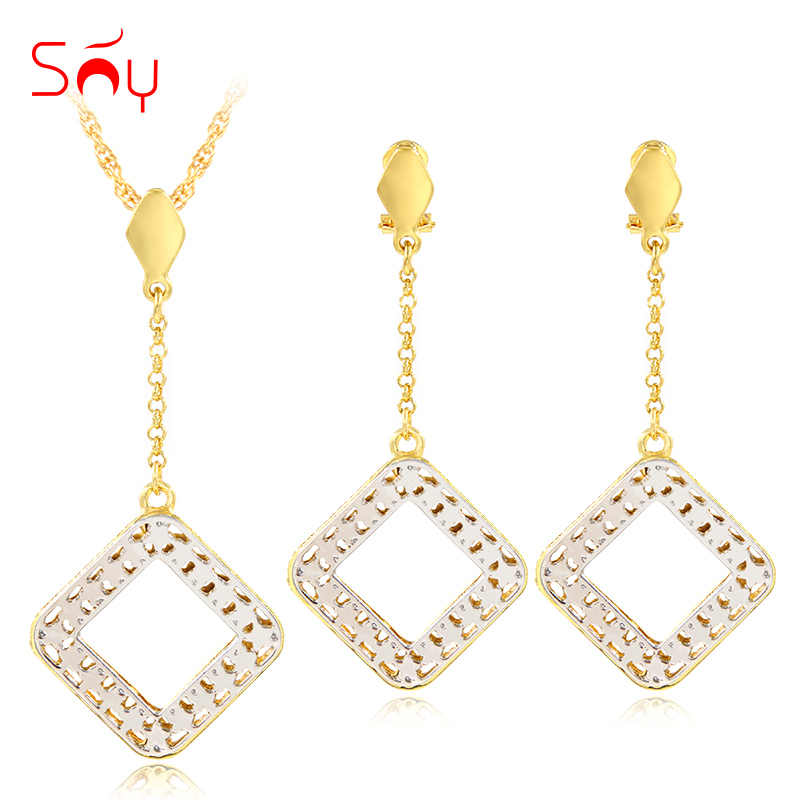 Sunny Jewelry Fashion Jewelry 2019 Women's Necklace Earrings Pendant Jewelry Sets Star Square Hollow Maxi Dubai Jewelry Sets