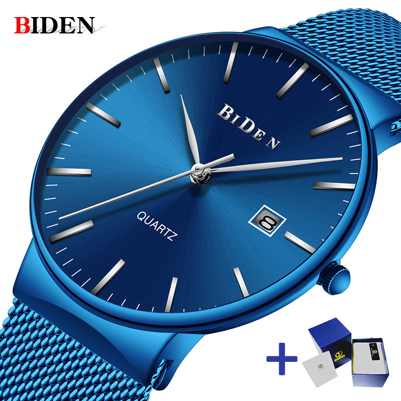 BIDEN Men watch Ultra Thin Business Quartz Watch Casual Mesh Steel Top Brand Luxury Waterproof Wristwatch men Relogio Masculino biden men s watches new luxury brand watch men fashion sports quartz watch stainless steel mesh strap ultra thin dial date clock