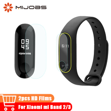 Mijobs 2pcs Ultrathin Antiscratch Mi band 3 Screen Protector for Xiaomi Mi Band 2 Protective Miband 3 Film Smart Watch Bracelets