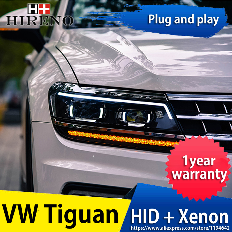 Hireno Headlamp for Volkswagen Tiguan 2017 Headlight Headlight Assembly LED DRL Angel Lens Double Beam HID Xenon 2pcs image