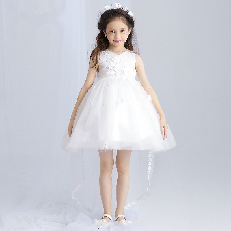 Formal Girls Dress Ball Gown V-Neck Long Tailed Flower Girl Vestido for Party 2017 Girl Clothes 3 4 6 8 10 12 14 Years RKF174029 girls champagne short front long back flower girl dress for wedding trailing formal party vestidos girls clothes 2017 skf154024