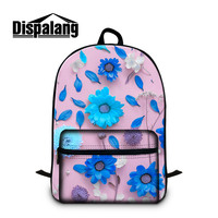 Dispalang personalized floral 3D printing multi colors school book backpacks for teenager girls female fashion back pack bagpack