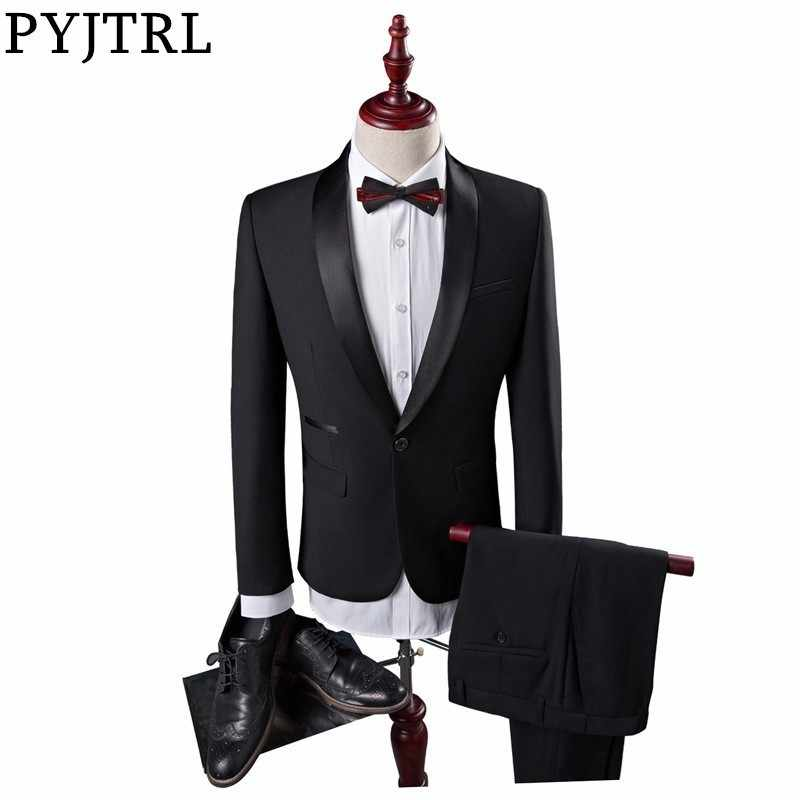PYJTRL Mens Classic Shawl Lapel Black Two-piece Set Suits Wedding Groom Evening Party Prom Dress Tuxedo Costume Homme Men Suit