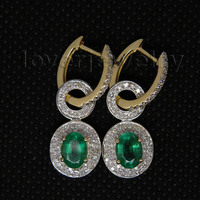 Natural Emerald Earrings,Solid 14Kt Yellow Gold Real Diamond Emerald Earrings Oval 5x7mm For Sale E0006