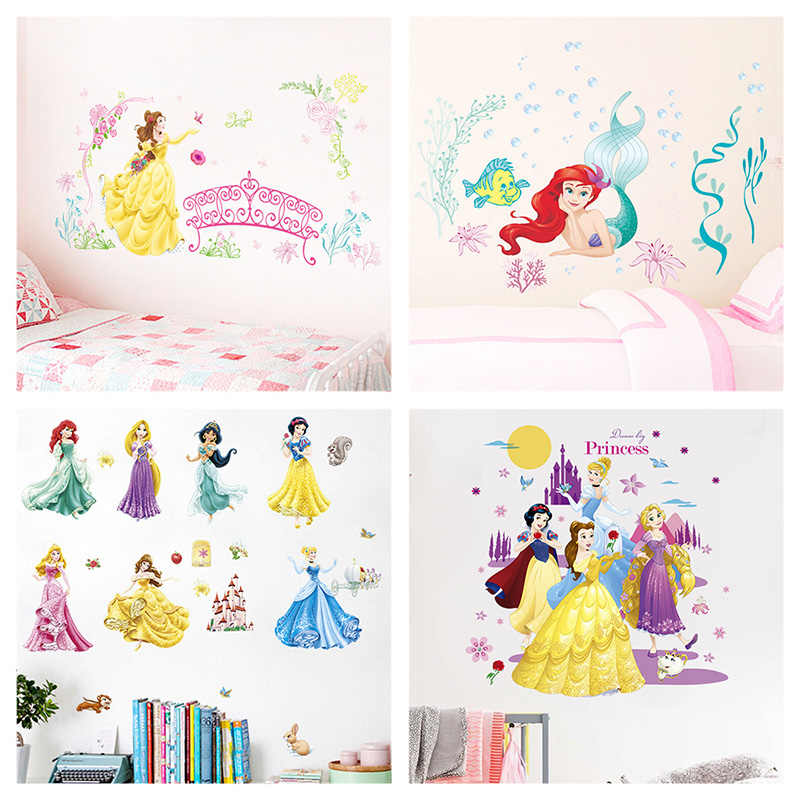 Snow White Cinderalle Belle Ariel Aurora Sofia Mermaid Jasmine Princess Wall Stickers Home Decor Kids Room Decal Anime Mural Art