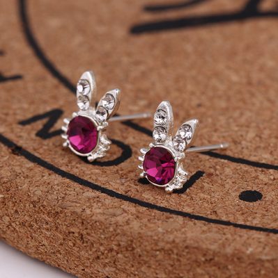Hot Elegant Glamorous red Crystal Rabbit ears Earrings Jewelry Stud Earrings lovely heart for Women and Girls Free Shipping