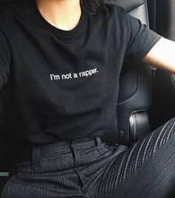 Harajuku 2016 Черный Майка Женщины Топы Кендалл Дженнер Я НЕ Рэпер Печати Письма Футболку Femme Повседневная футболка Повседневная Tumblr