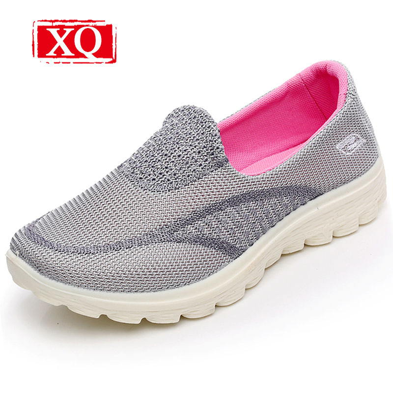 XQ 2018 New Fashion Women Casual Shoes Breathable Solid Loafers Lightweight Soft Sole Antiskid Flat Shoes Slip-on Shoe L120