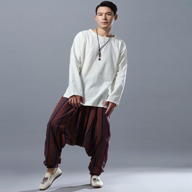 Elastic Waist Men Cotton Linen Stripe Big Crotch Pants Hippy Aladdin Harem Wide leg Ninja Casual Pants Full Length Trousers L-XL 6
